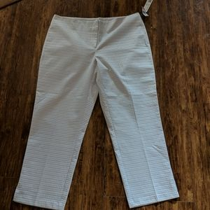 Tribal White Textured Square Print Ankle Pants 14